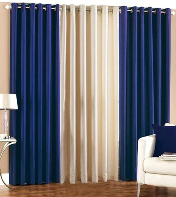 Thiwas Polyester Blue, Cream Plain Eyelet Door Curtain