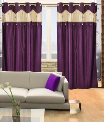 JTInternational Polyester Multicolor Floral Eyelet Door Curtain