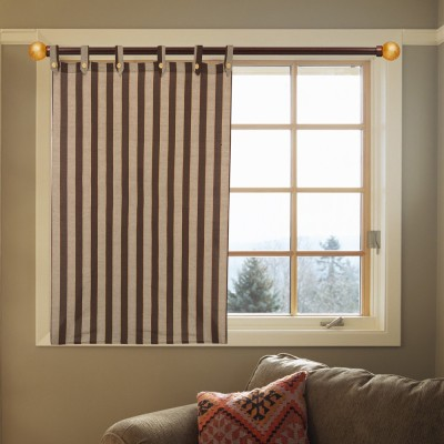 Kings Polycotton Brown Striped Eyelet Door Curtain