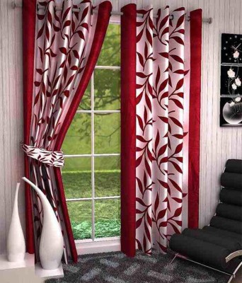 New Ladies Zone Polyester Red Floral Curtain Window Curtain