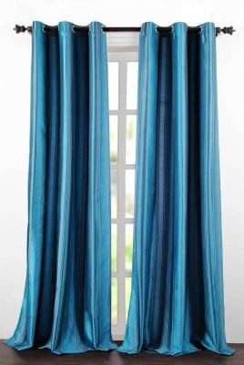 Deco Essential Polyester Dark Blue Plain Eyelet Door Curtain