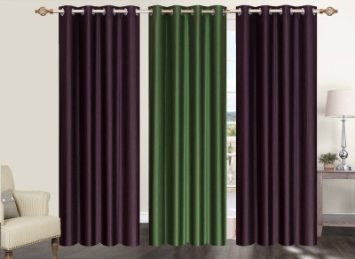Furnishing Zone Polyester Brown, Green Plain Eyelet Long Door Curtain