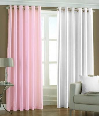 The Decor Hub Polyester Baby Pink, White Plain Eyelet Door Curtain
