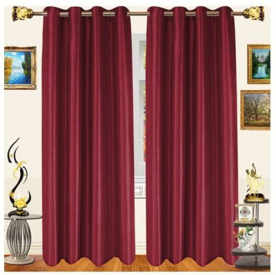 White Wave Polyester Maroon Solid Eyelet Window Curtain