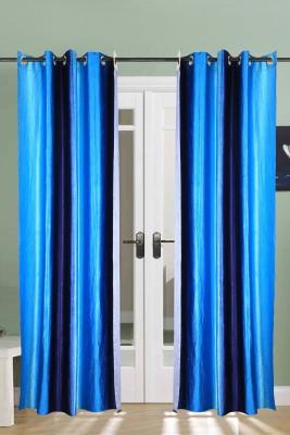 The Handloom Store Polyester Sky blue Self Design Eyelet Window & Door Curtain