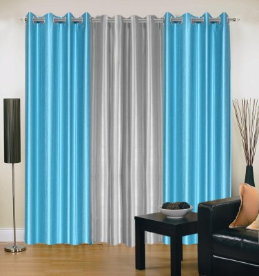 Brand Decor Polyester Blue, Silver Solid Eyelet Window Curtain