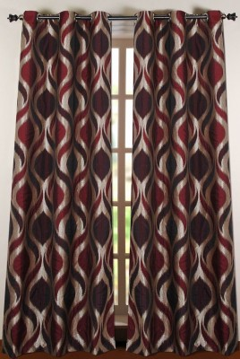 Deco Window Polyester Maroon Printed Eyelet Door Curtain