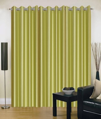 Chaitnya Handloom Polyester Green Plain Eyelet Door Curtain