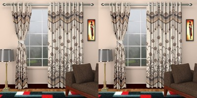 JH Jacquard Brown Self Design Eyelet Door Curtain