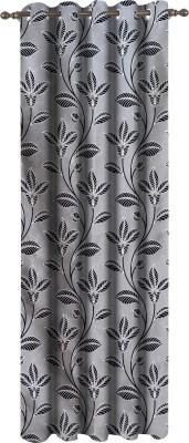 Dreamscape Polyester Grey Motif Eyelet Door Curtain