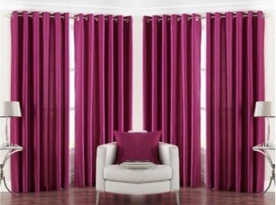 RedHot Polyester Red Plain Eyelet Long Door Curtain