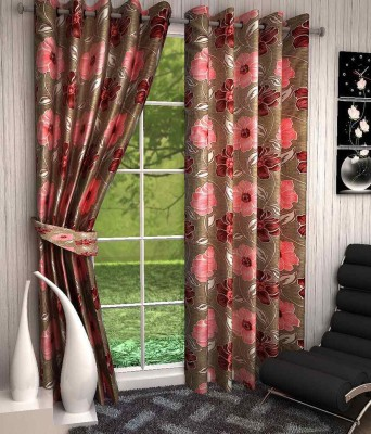 Click Weaves Polyester Multicolour Floral Eyelet Door Curtain