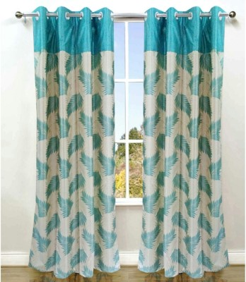 Fresh From Loom Polyester Light Blue Floral Eyelet Door Curtain