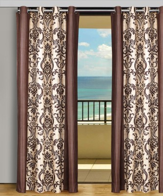 Home Aid Polyester Beige-Brown Abstract Eyelet Door Curtain