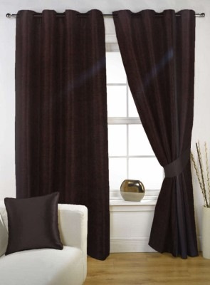 Kings Polycotton Brown Solid Eyelet Door Curtain