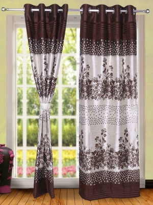 Wind Drape Polyester Coffee Floral Ring Rod Door Curtain
