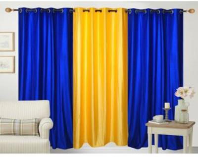 Ech Oly Polyester Blue, Yellow Plain Eyelet Door Curtain
