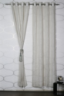 Homelife Polyester Beige Solid Eyelet Window Curtain