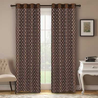 Soumya Polycotton Brown Plain Eyelet Window Curtain