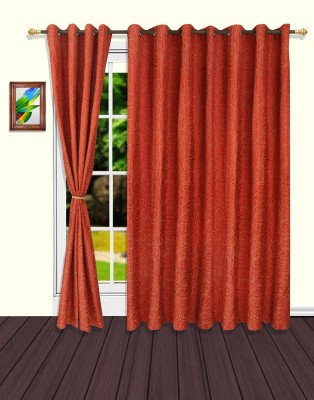 S9home by Seasons Polyester Red Geometric Eyelet Door Curtain