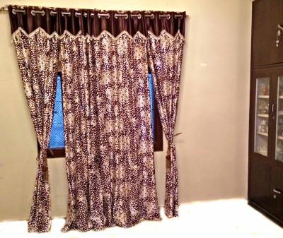 SHC Polyester Brown Checkered Eyelet Door Curtain