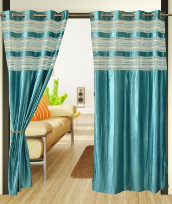 Home Candy Polyester Blue Solid Ring Rod Long Door Curtain