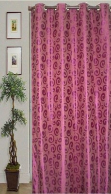 JBG Home Store Polyester Pink Floral Eyelet Door Curtain