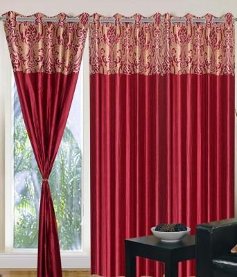 Panipat Textile Hub Polyester Maroon Floral Eyelet Door Curtain