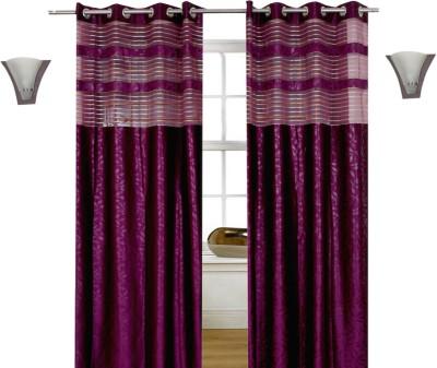 Shopcrats Polyester Purple Floral Curtain Door Curtain