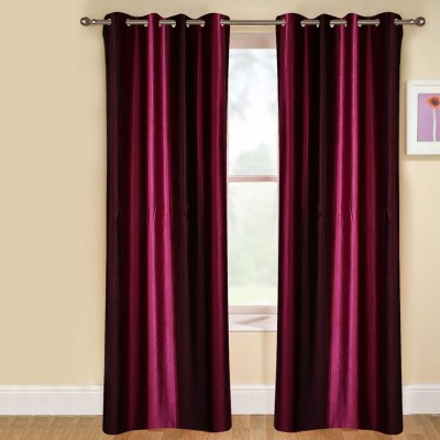 kaka furnishings Polyester Purple Plain Eyelet Long Door Curtain