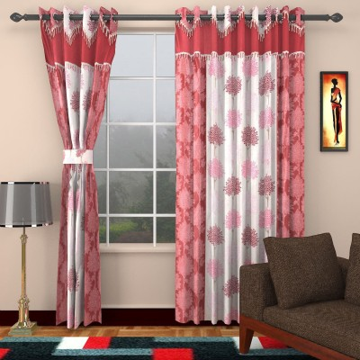 Centra Home Polyester Marron Floral Eyelet Window & Door Curtain