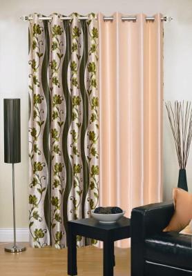 New Trends Polyester Green, Beige Printed Eyelet Door Curtain