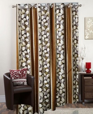 I-LivSmart Polyester Brown Floral Curtain Door Curtain