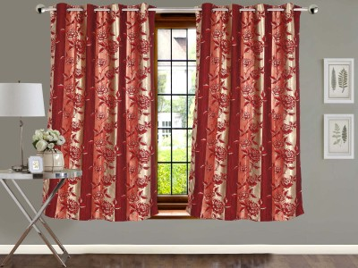 Vivace Homes Jacquard Multicolor Floral Eyelet Window Curtain