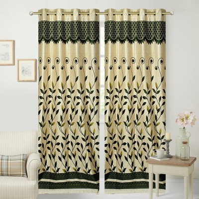 Fresh From Loom Polyester Green Floral Curtain Door Curtain