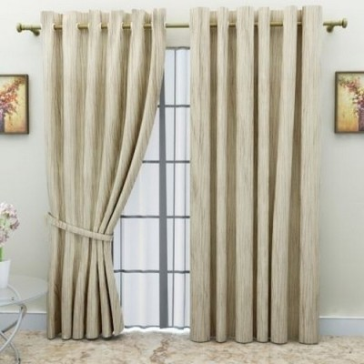 G M HomeFashion Polyester Multicolor Striped Eyelet Door Curtain
