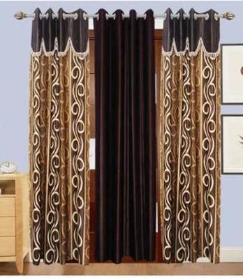 Swastik Polyester Multicolor Self Design Eyelet Long Door Curtain