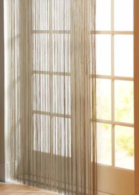 R home Viscose Beige Plain Rod pocket Window & Door Curtain