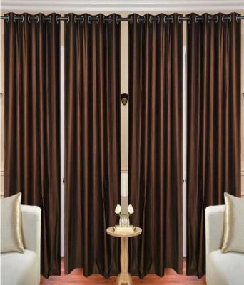 shivamconcepts Polyester COFFEE Plain Eyelet Long Door Curtain