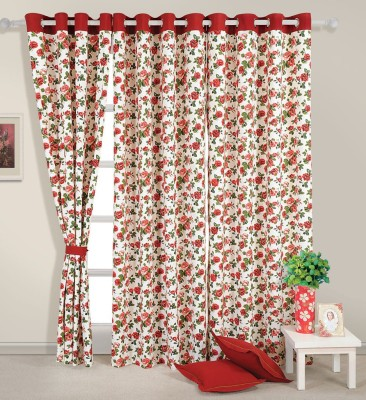 Swayam Cotton Orange Printed Eyelet Door Curtain