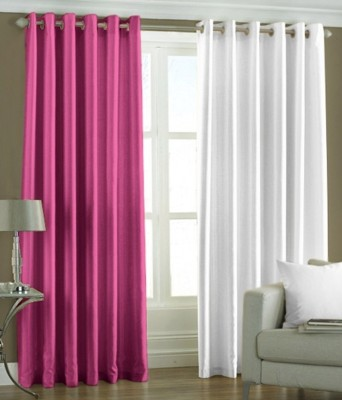 Hargunz Polyester Pink, White Checkered Eyelet Long Door Curtain