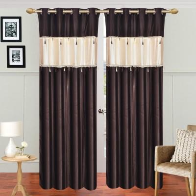 Dreamshomes Polyester Coffee, Beidge Solid Rod pocket Door Curtain