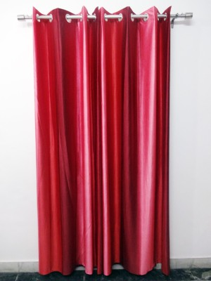 K Gallery Polyester Pink, Maroon Striped Eyelet Door Curtain