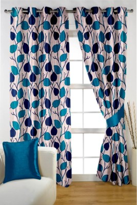 Homec Polyester Blue Printed Eyelet Window & Door Curtain
