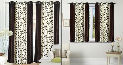 Fantasy Home Decor Polyester Brown Floral Eyelet Door Curtain