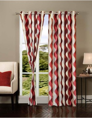 Handy Texty Polyester Maroon Printed Eyelet Window Curtain