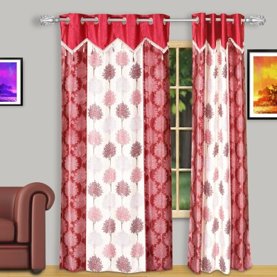 Dreaming Cotton Polyester Red Damask Eyelet Door Curtain