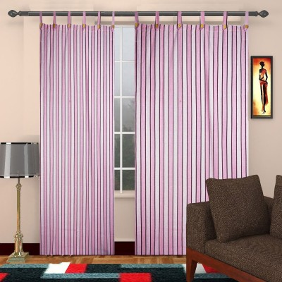 TG Shoppers Cotton Pink Striped Curtain Door Curtain