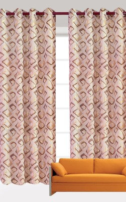 India Furnish Polycotton Gold Floral Eyelet Long Door Curtain