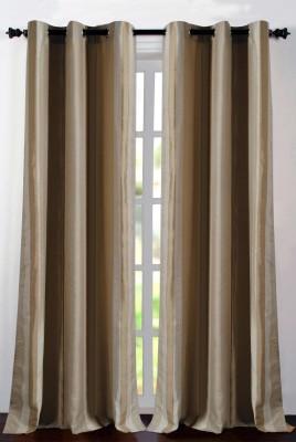 Deco Essential Polyester Beige Plain Eyelet Window Curtain